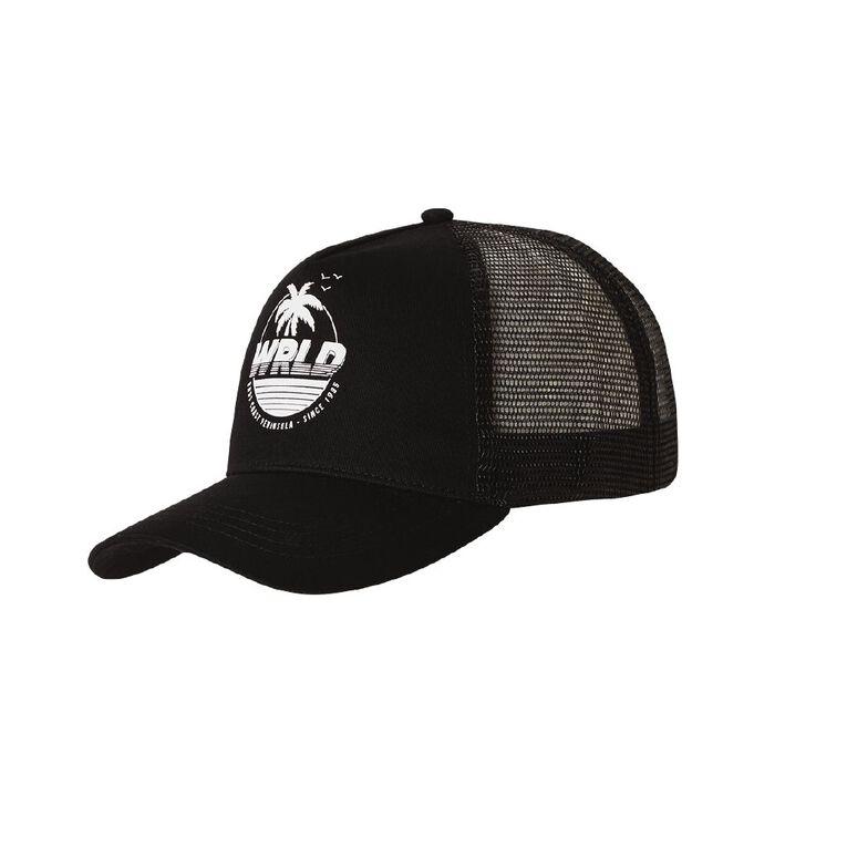 H&H Men's World Trucker Cap, Black, hi-res