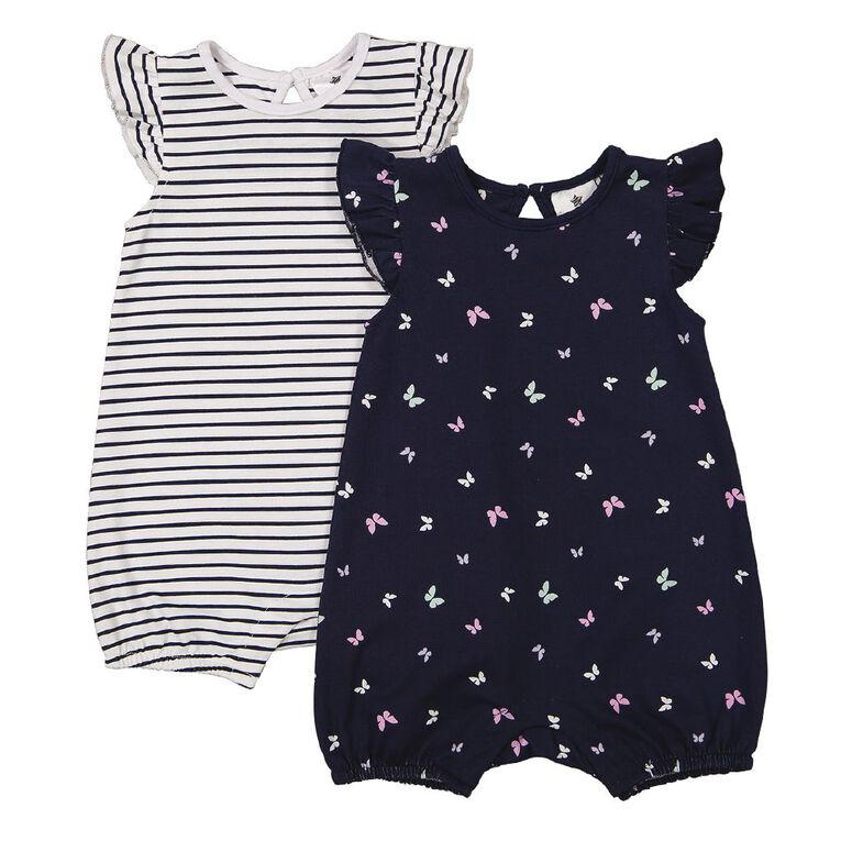 Young Original Baby 2 Pack Frill Sleeve Romper, Blue Dark, hi-res image number null