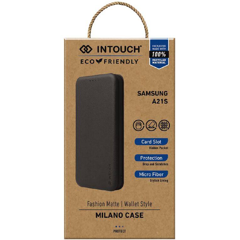 INTOUCH Samsung A21s Milano Wallet Case Black, , hi-res