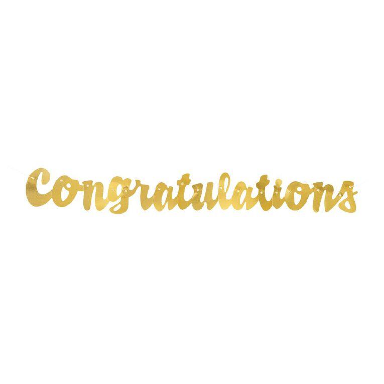 Unique Congratulations Foil Script Jointed Banner 1.06 meter Gold, , hi-res