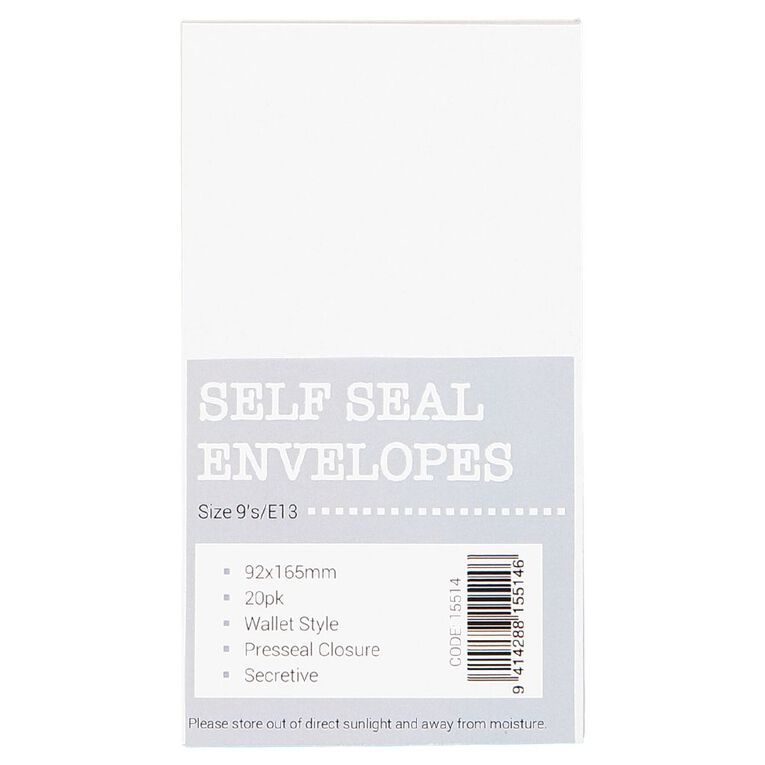 Envelope Self Seal 20 Pack White, , hi-res