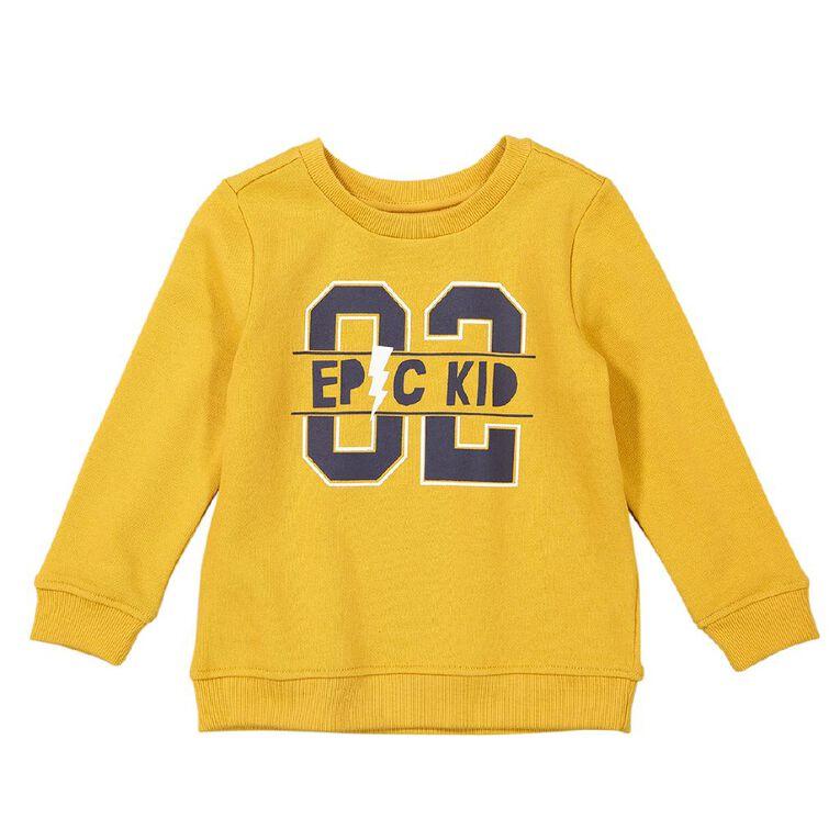 Young Original Toddler Printed Sweatshirt, Yellow Dark, hi-res