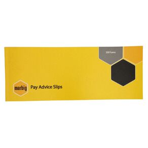 Marbig Wages Pay Advice Slip 200 Forms Yellow