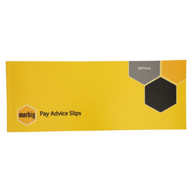 Marbig Wages Pay Advice Slip 200 Forms Yellow, , hi-res image number null