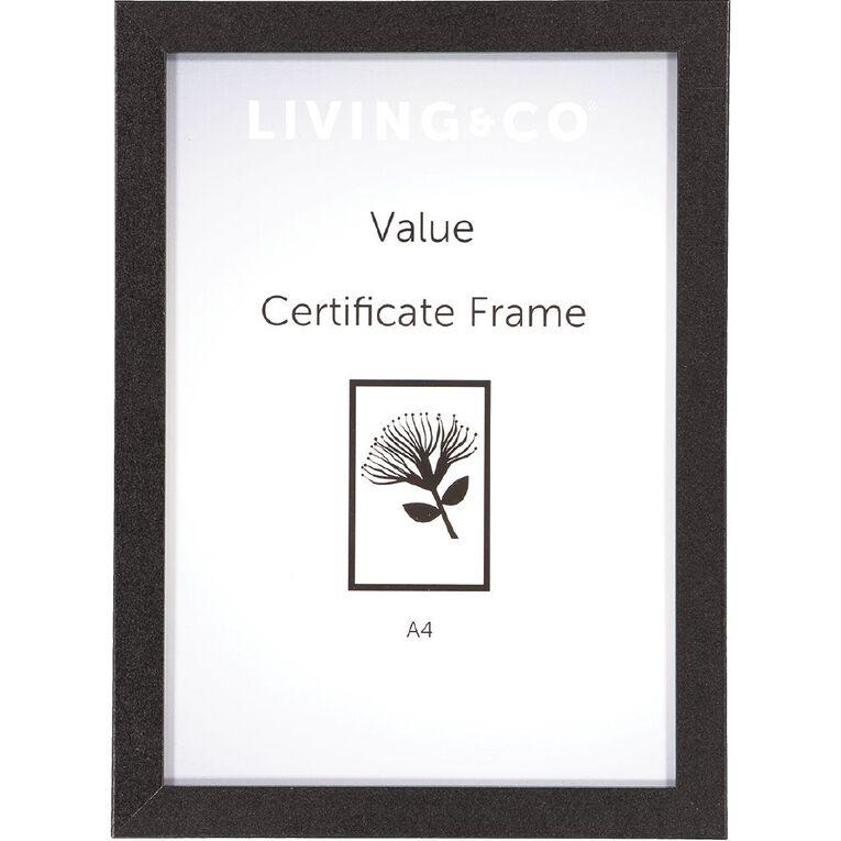 Living & Co Value Certificate Frame 2 pack Black A4, Black, hi-res