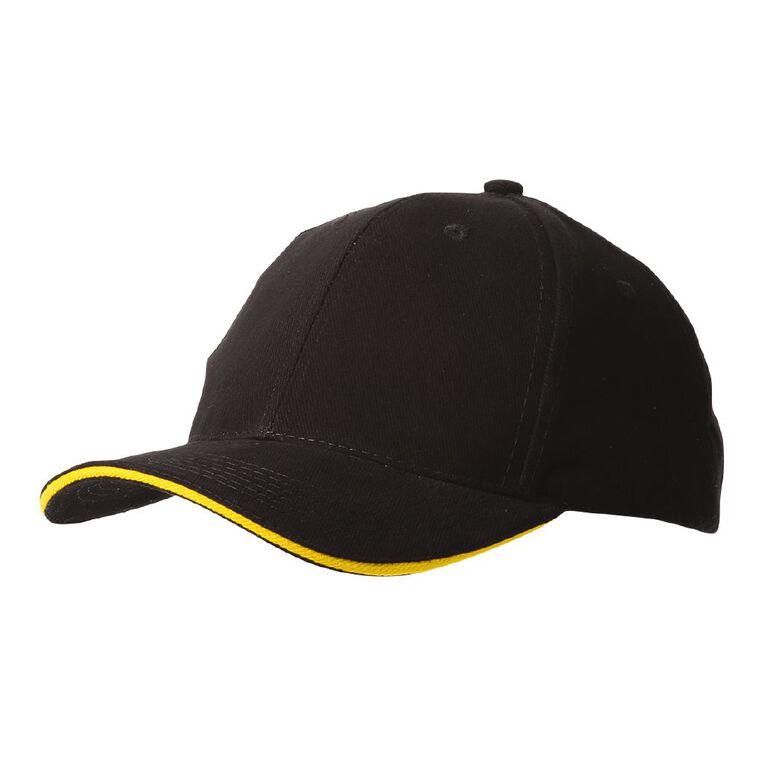 Schooltex C Cap Plain, Black/Gold, hi-res