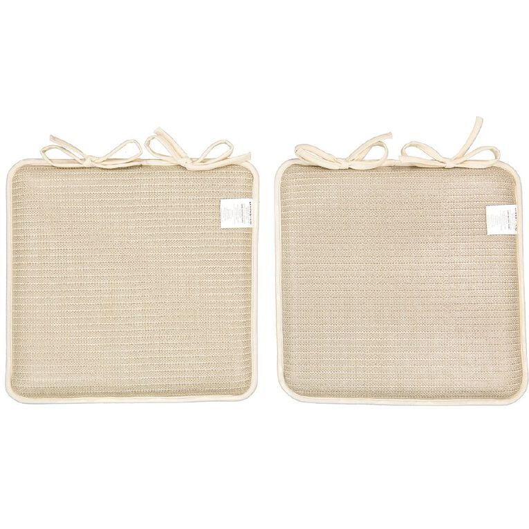 Living & Co Memory Foam Chair Pad 2 Pack Taupe 40cm x 40cm, Taupe, hi-res