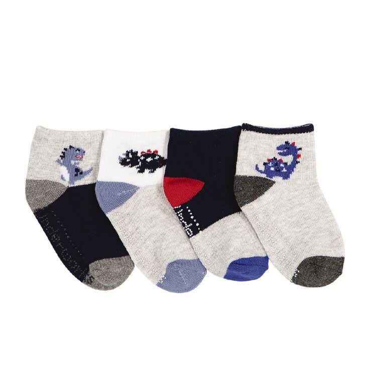 Underworks Infants' Patterned Mid Crew Socks 4 Pack, Navy, hi-res