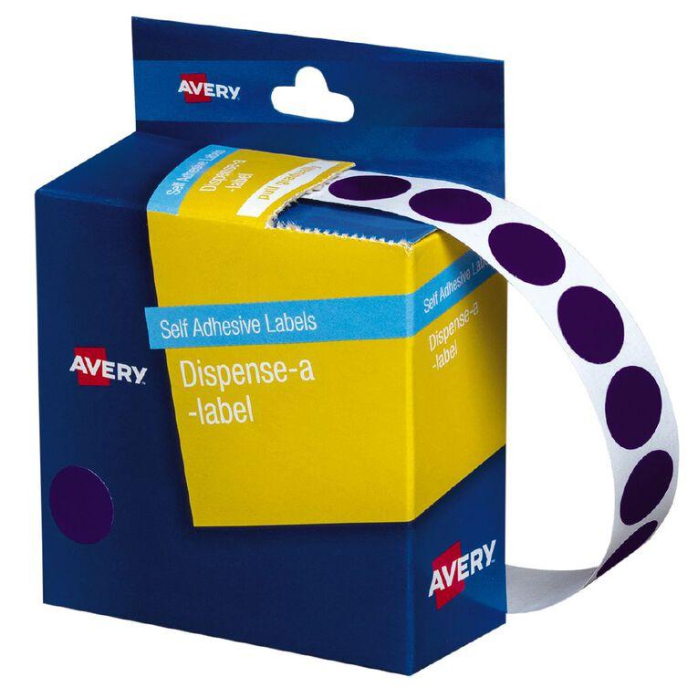Avery Purple Dispenser Dot Stickers 14mm diameter 1050 Labels, , hi-res