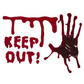 Scarehouse Halloween Bloody Hand & Keep Out Gel Sticker 15cm