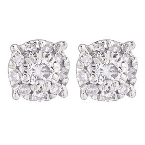0.10 Carat Diamond 9ct Gold Round Cluster Stud Earrings