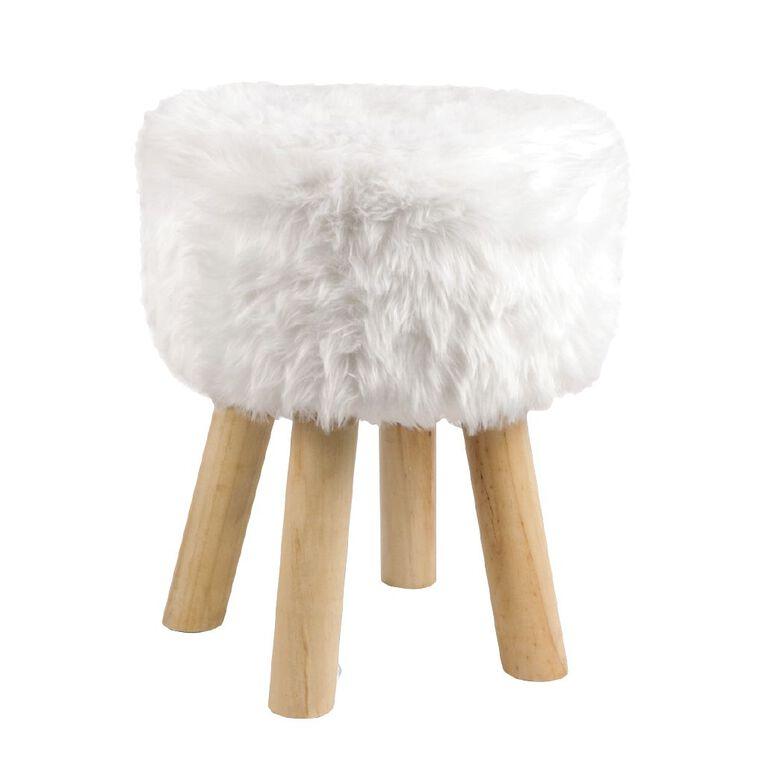Living & Co Foot Stool Faux Fur, , hi-res