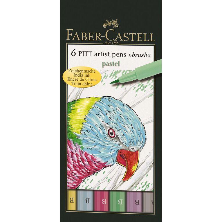 Faber-Castell Pitt Artist Brush Pens Pastels 6 Pack, , hi-res