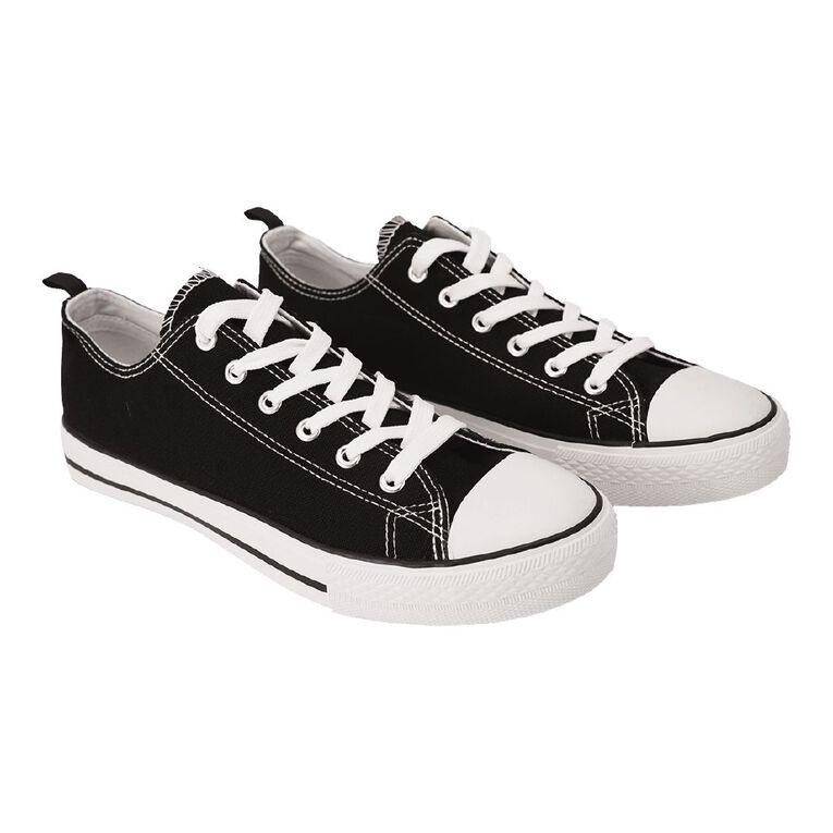 H&H Polly Lo Canvas Shoes, Black/White, hi-res