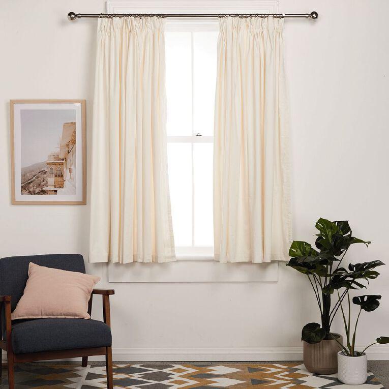 Living & Co Calico Curtains Natural 230-330cm Wide/220cm Drop, Natural, hi-res