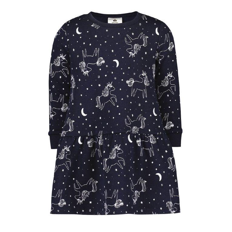 Young Original Toddler Drop Hem Sweatshirt Dress, Blue Dark, hi-res