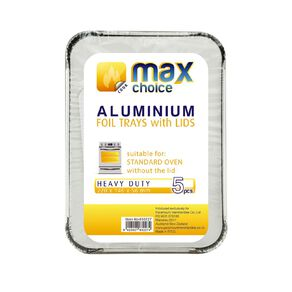 Max Choice Foil Dish with Paper Lid 5 Pack