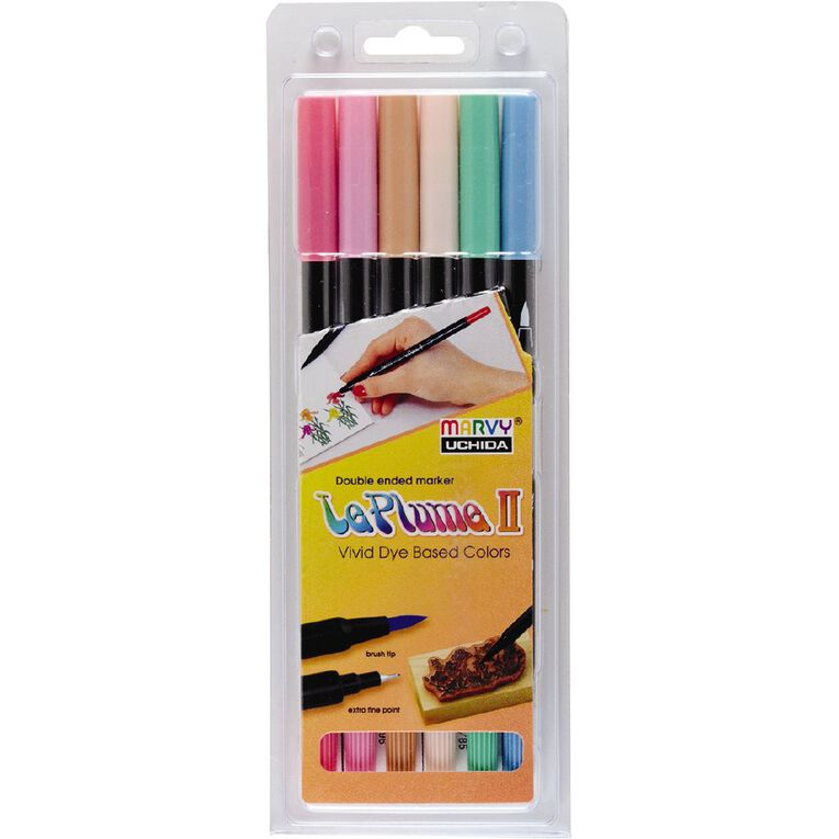 MARVY Le Plume II Dual Tip Marker Set 6 Pastel, , hi-res