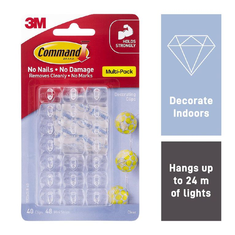 Command Decorating Clips with Strips Value Pack Clear, , hi-res