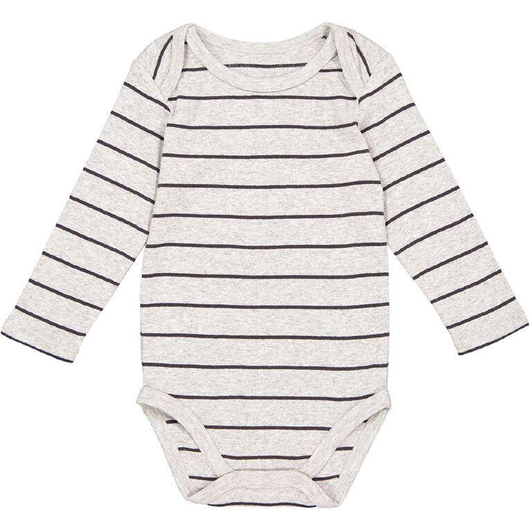 Young Original Baby Long Sleeve Bodysuit, Grey Mid, hi-res
