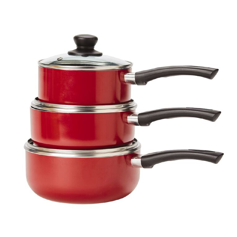 Living & Co Classic Saucepan Set Red 3 Piece, , hi-res