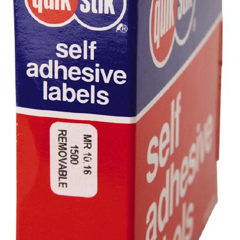 Quik Stik Labels Mr1016 10mm x 16mm 1500 Pack White, , hi-res