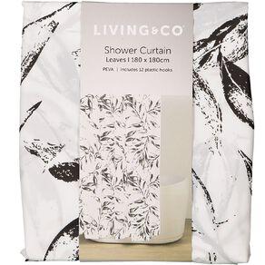 Living & Co Shower Curtain PEVA Leaves White/Black 180cm x 180cm