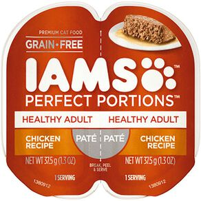 Iams Perfect Portions Wet Cat Food Healthy Adult Chicken Pate 2 x 37.5g