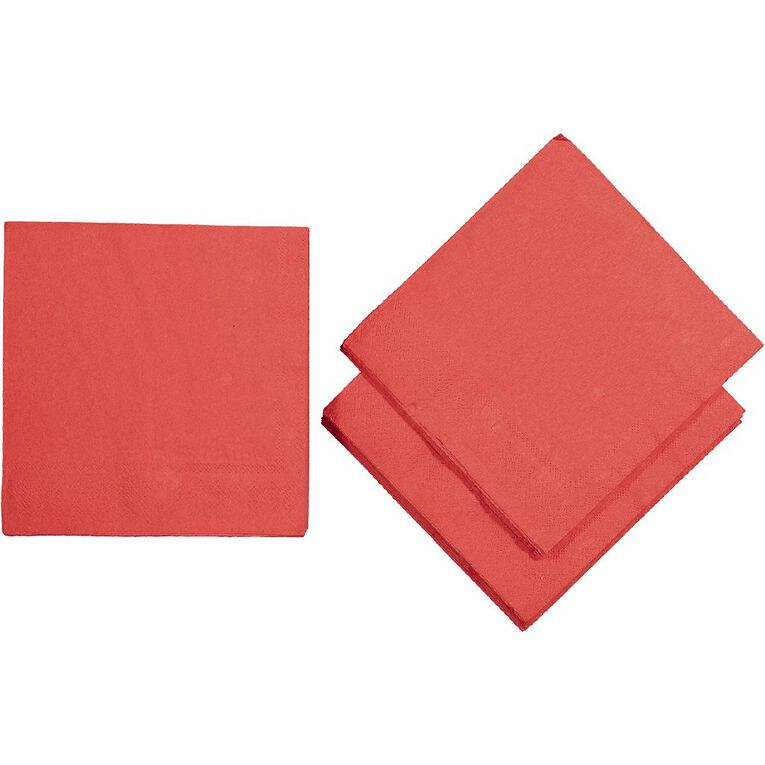 Party Inc Napkins 2Ply 33cm Red 50 Pack, , hi-res