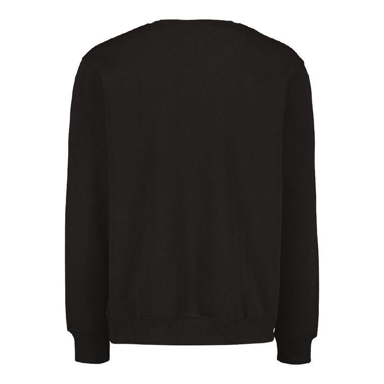 H&H Men's Plain Crew Sweatshirt, Black, hi-res