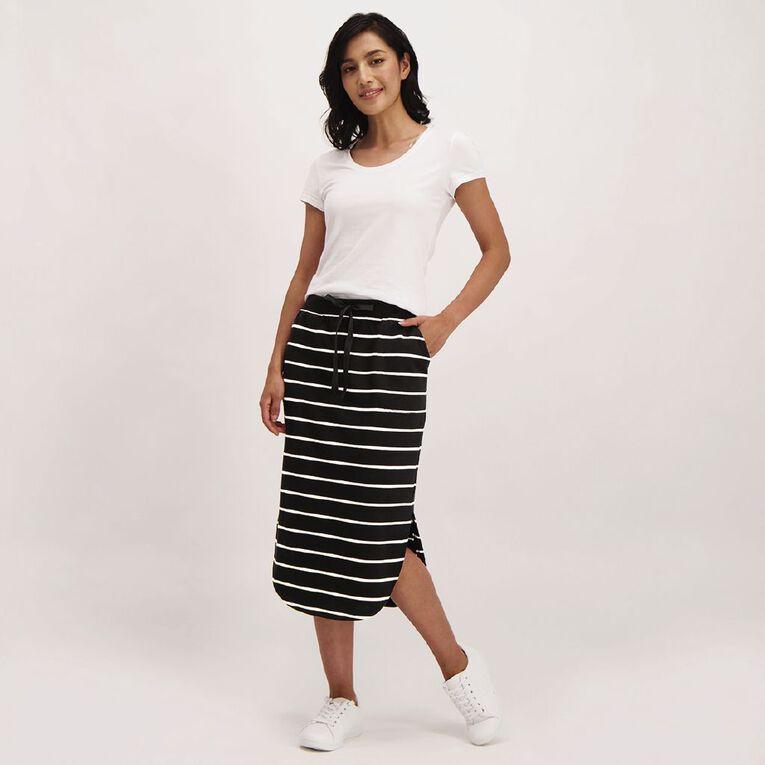 H&H Women's Knit Scoop Hem Midi Skirt, Black/White STRIPE, hi-res