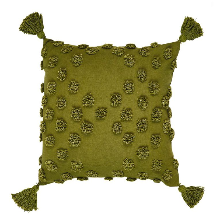 Living & Co Tufted Spot Cushion with Tassels Green Dark 45cm x 45cm, Green Dark, hi-res