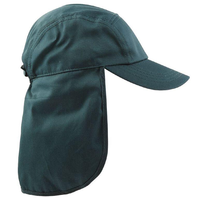 Schooltex Kids' Drill Flap Cap, Bottle Green, hi-res