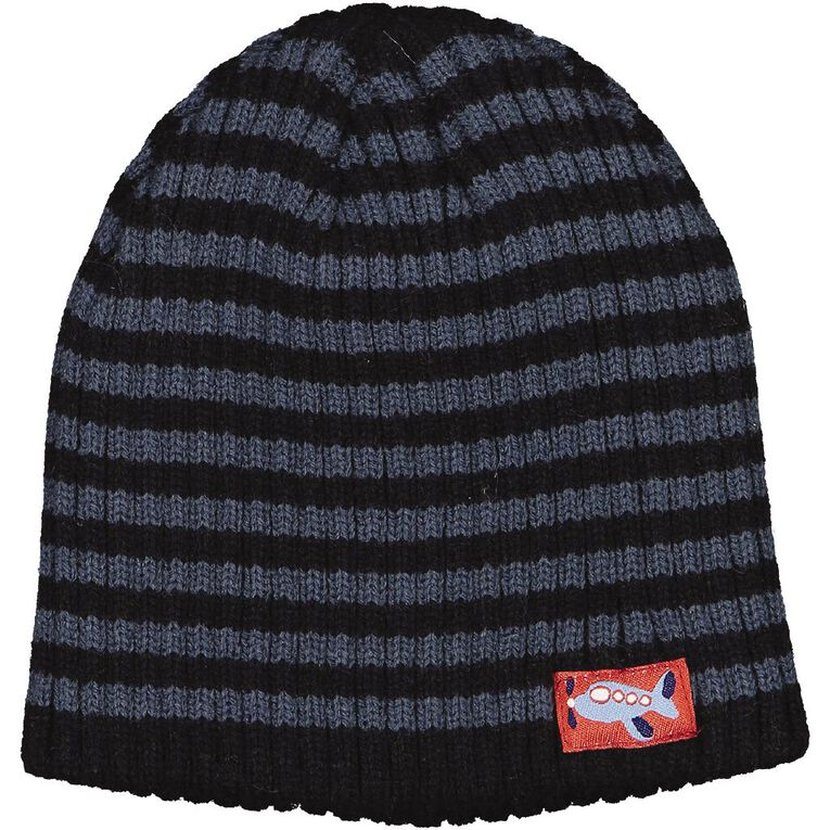 Young Original Infants' Stripe Beanie, Black, hi-res