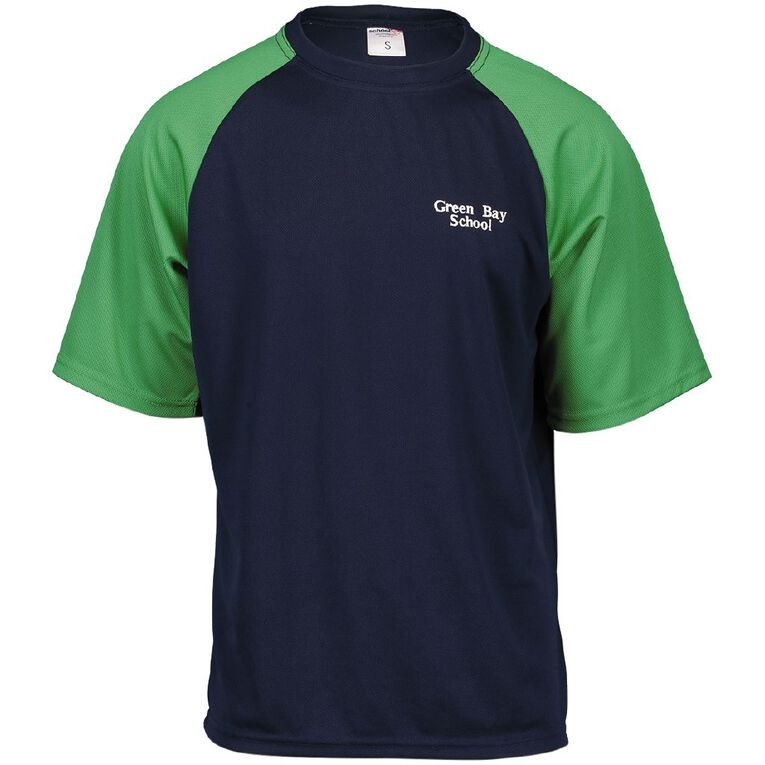 Schooltex Green Bay PE Tee with Embroidery, Navy/Emerald, hi-res