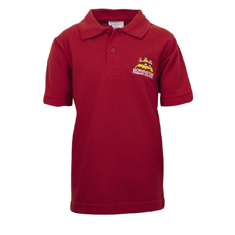 Schooltex Mornington Short Sleeve Polo with Embroidery, Red, hi-res
