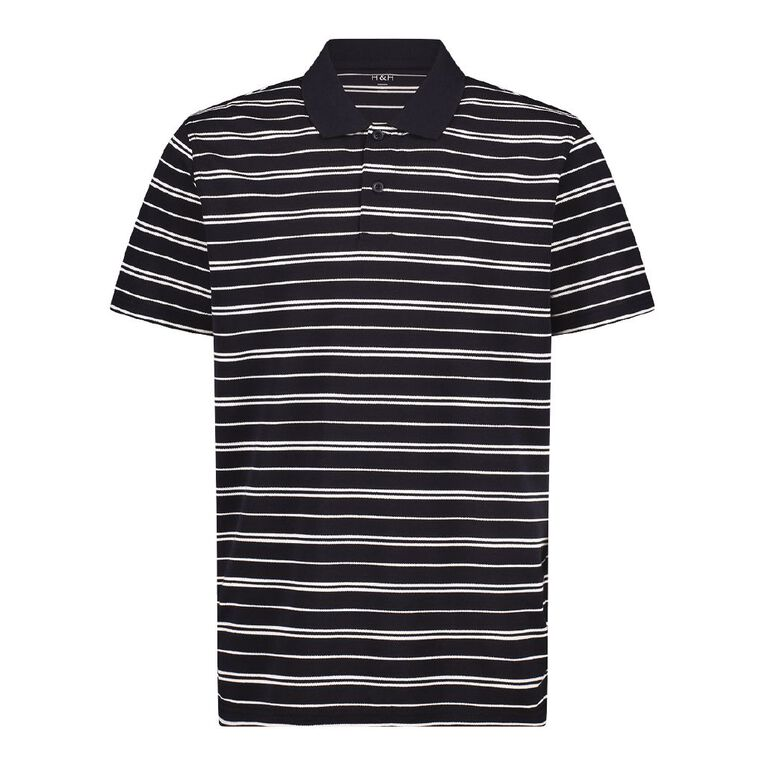 H&H Short Sleeve Striped Polo, Navy/White, hi-res