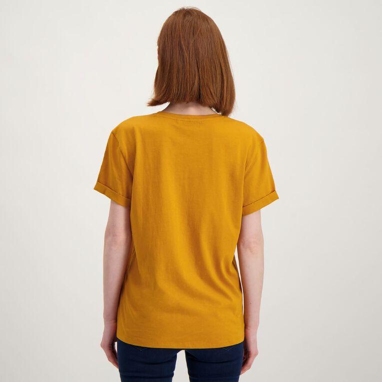 H&H Women's Printed Cuff Detail Tee, Yellow Dark, hi-res