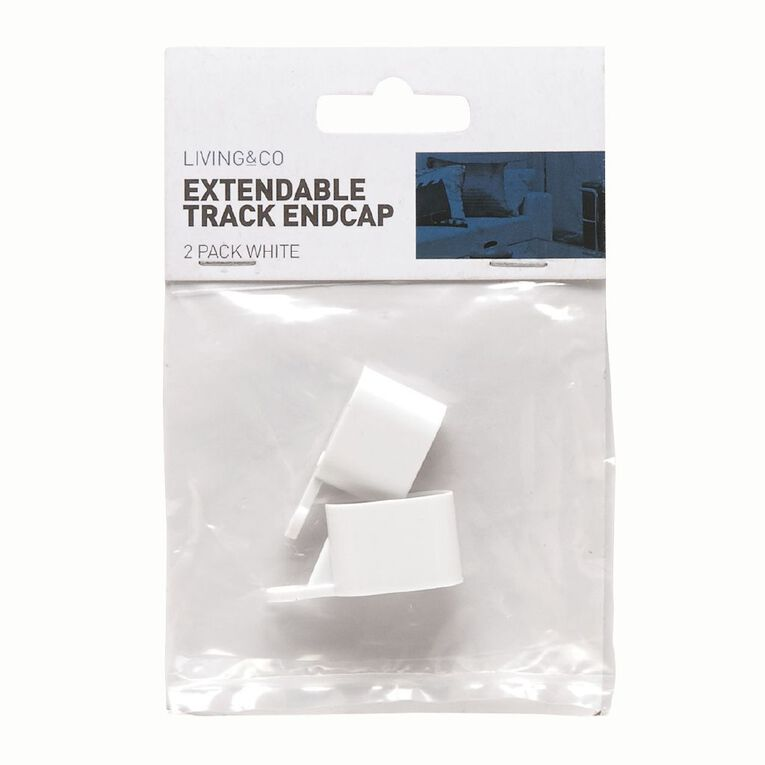 Living & Co End Caps for Extendable Curtain Track White 2 Pack, White, hi-res