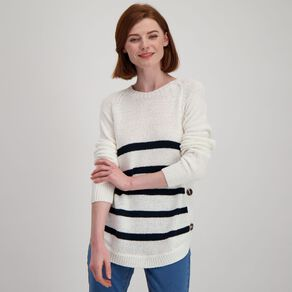 H&H Women's Long Sleeve Tape Scoop Button Jumper