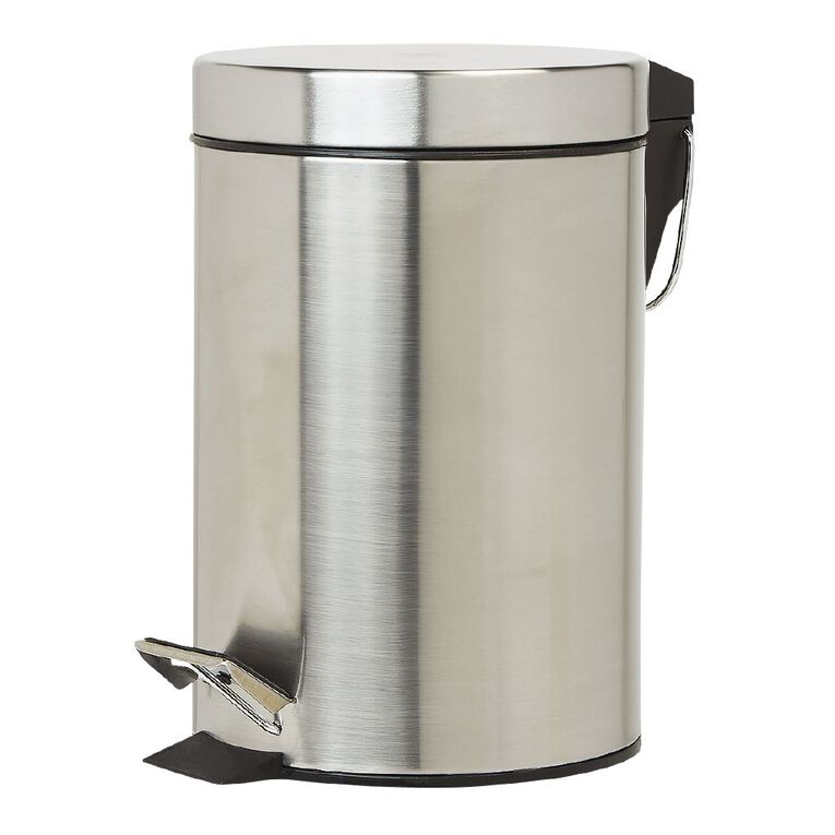 Living & Co Pedal Bin Stainless Steel Silver Silver 3L, , hi-res