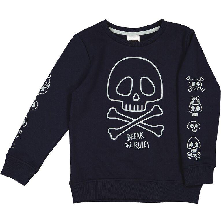 Young Original Glow In The Dark Crew Sweatshirt, Navy, hi-res