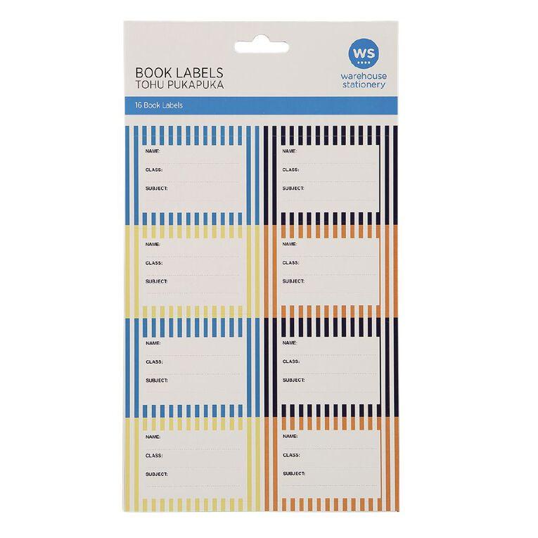 WS Book Labels Stripe 16 Pack, , hi-res