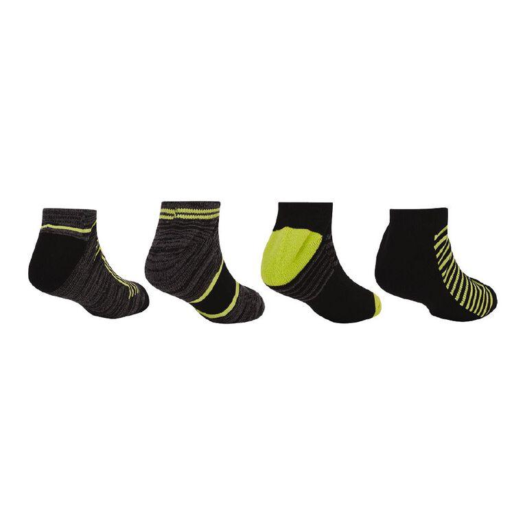 Active Intent Boy's Low Cut Socks 4 Pack, Black, hi-res
