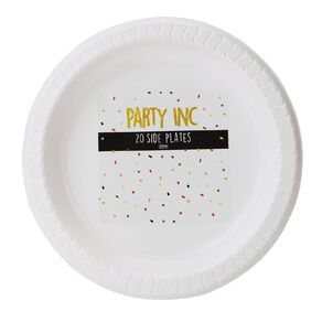 Party Inc Plastic Side Plates 18cm White 20 Pack