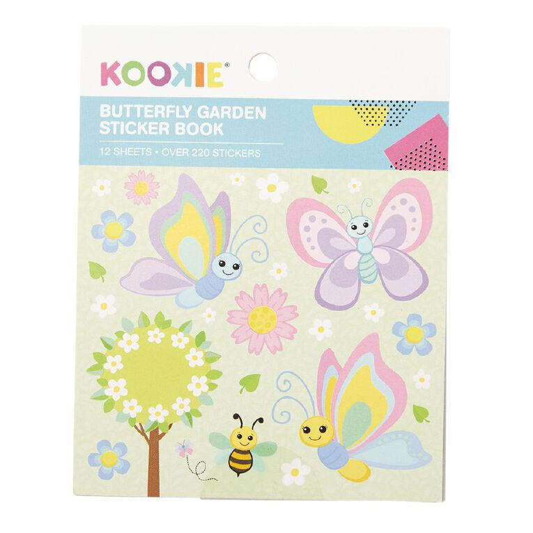 Kookie Mini Sticker Book 12 Sheets Butterfly Garden, , hi-res