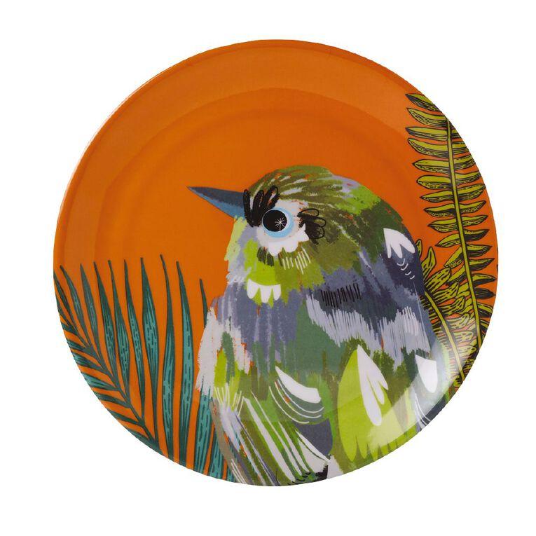 Living & Co Printed Melamine Plate Finch Multi-Coloured, , hi-res