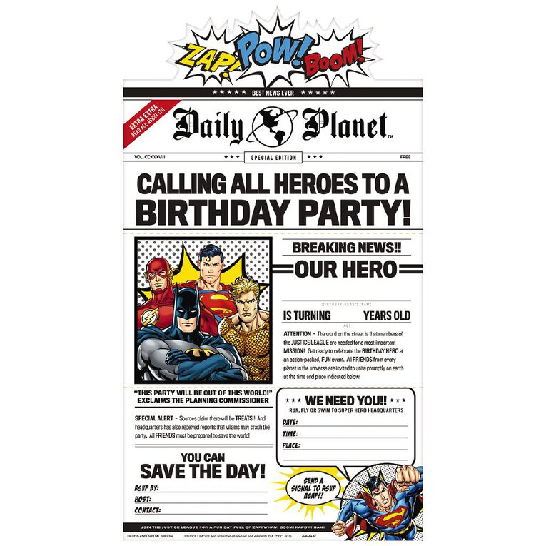 Justice League Heroes Unite Deluxe Invitations 8 Pack, , hi-res