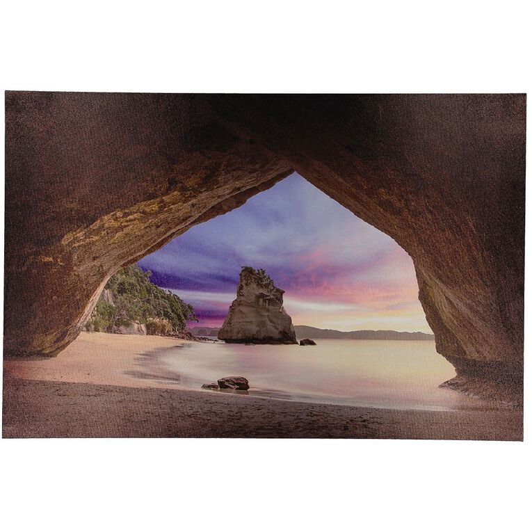 Living & Co Cathedral Cove Sunset Canvas Multi-Coloured 90cm x 60cm, , hi-res