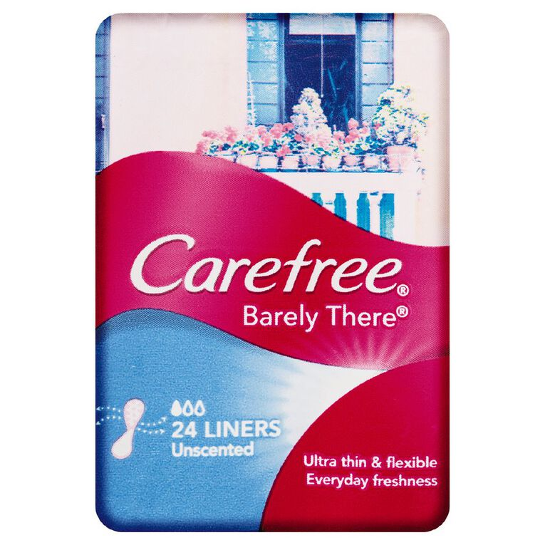 Carefree Panty Liners Barely There Unscented 24 Pack, , hi-res